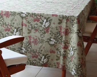 Tablecloth ,home decor  ,cotton ,eco friendly ,Green White burgundy flower
