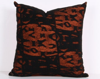 Pillow cover,Decorative pillow, throw pillow Orange, Black ,cotton