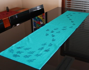 Table Runner ,hand printing FISH,Table top ,Home decor,LINEN ,eco friendly