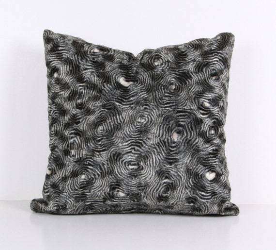 Pillow cover,Decorative pillow, throw pillow Gray, Black ,velvet