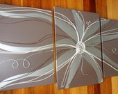 FREE SHIPPING WORLDWIDE.  Flannel flower triptych, chocolate, silver and cream, Set of 3 Dee's Funky Art.  Original canvas paintings