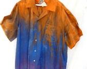 Hand dyed XL silk men's shirt.  Purple to blue to orange.