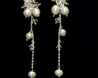 Swarovski Crystal and Fresh Water Pearl Earring