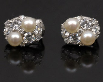 Sterling Silver Stud Earrings with Cubic Zirconia and Fresh Water Pearl