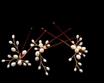 Set of 3 Freshwater Pearl Flower Hair Pins - Permanent Gold plated wire