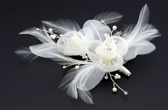 Vintage Inspired Bridal Hair Comb Accent with Feather, silk flower, pearls