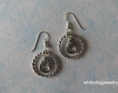 "Earrings - Silver  twisted rings, large and small, layered with teardrop ring - ""Circle of Dancers"""