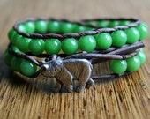 Bear Bracelet, Leather Beaded Wrap Bracelet 2x, Green Jade Beads, Nature Inspired, Bear Jewelry