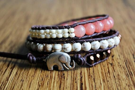 Elephant Bracelet , Elephant Jewelry, Leather Beaded Wrap Bracelet 3x, Wrap Around Bracelet