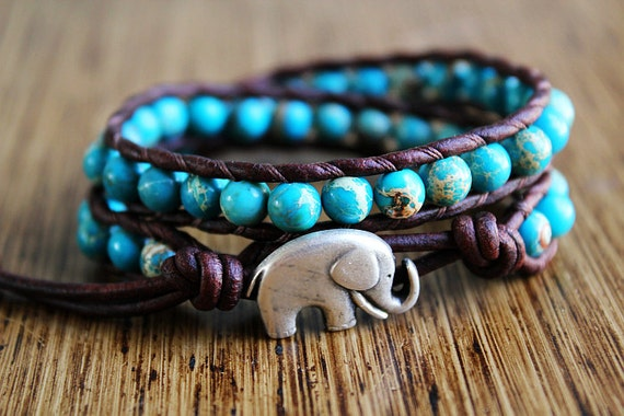 Elephant Bracelet, Leather Beaded Wrap Bracelet, Jasper Aqua Beads, Elephant Jewelry, Lucky Elephant, Good Luck Jewelry