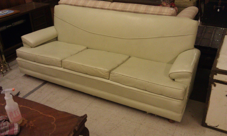 Vintage Killer Naugahyde Couch Light Lime Yellow Sofa
