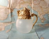 Lion Head Decanter Carafe -- Gold and Glass