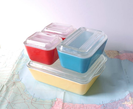 Multi-color Pyrex Primary Refrigerator Set - Yellow, Blue, Red Vintage Dishes