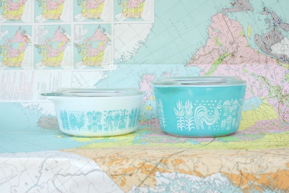 Butterprint Amish Pyrex Cinderella Casserole Dishes With Lids
