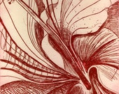 Red Hibiscus Etching Hand Pulled Original Print