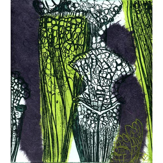 Carnivorous 1 Etching & Chine Cole Hand Pulled Original Print Limited Edition of 5