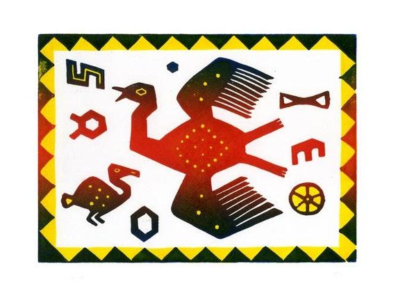 Peru Flying Bird Linocut Hand Pulled Original Relief Print Edition of 30