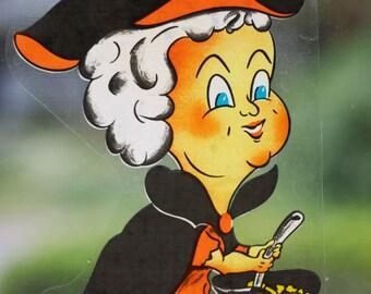 Vintage Halloween Window Clings - Witch, Cat, Pumpkin, Spider, Bats - Reusable