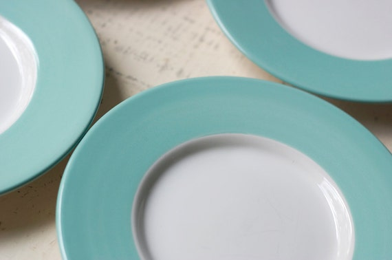 Aqua Rim Stoneware Plates - Vintage