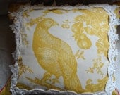French Country Pillow with Crocheted Lace and Bird
