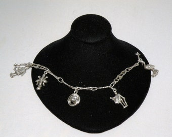 OLD Sterling Charm Bracelet Unusual Charms on an Ornate link bracelet