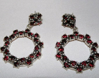 GYPSY style Sterling and Garnet Hoop Earrings