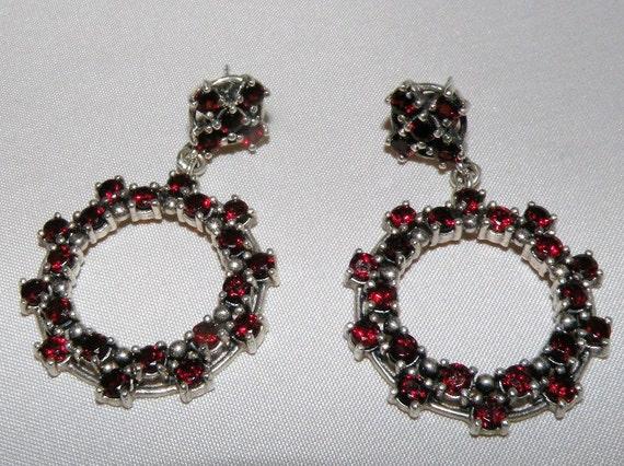 GYPSY style Sterling and Garnet Hoop Earrings