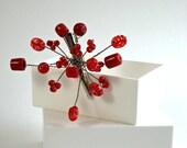 Red Hair Pin Fascinator Flower Hair Clip Hair Sprite