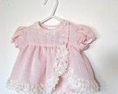 Vintage Baby Girl Dress Set  Newborn Pink And Ivory Lace 2 Piece Set Light Pink 0-6 Months
