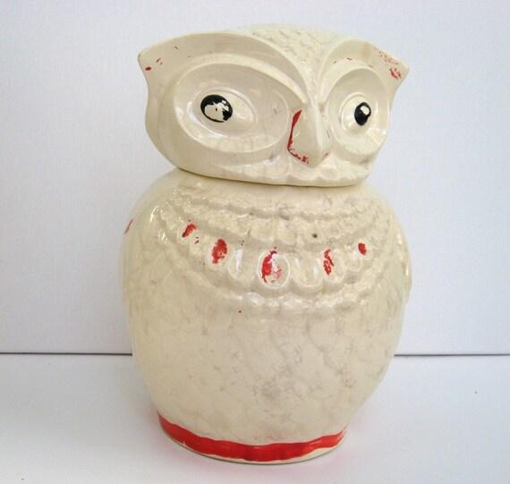 Vintage owl cookie jar orange shabby chic ivory by motherforage