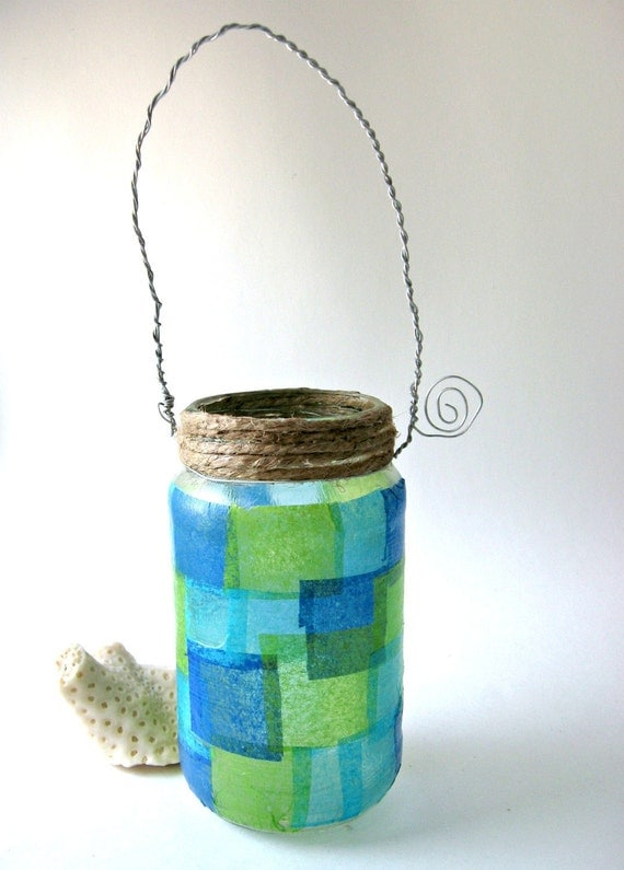 Upcycled Mason Jar  Lantern Beach Wedding Green Blue Set Of 6 Jar Hanging Vase Cool Tones