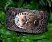 Horses Lend Us Handstamped Leather Cuff