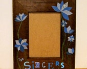 Personalized Picture Frame, Decoupage Collage Magazine Paper Flowers, 5x7 Wooden Frame