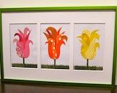 Magazine Paper Flower Collage Tulip Trio, Framed Pink, Orange, Yellow