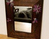 Framed Mirror, Decoupage Purple Flowers, 5x7 Wooden Frame