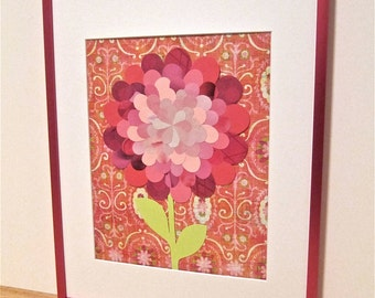Pink Paper Flower Collage, Pink Frame