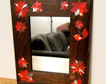 Framed Mirror, Decoupage Red Paper Flowers, 5x7 Wooden Frame