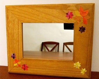 Framed Mirror, Decoupage Flowers, 5x7 Natural Wooden Frame
