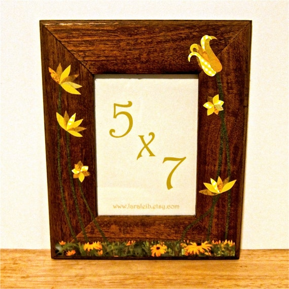 Picture Frame with Yellow Paper Collage Flowers, 5x7, Dark Finish