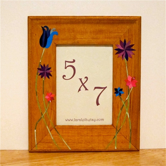 5x7 Picture Frame with Blue, Purple, Pink Collage Flowers, Natural Finish
