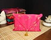 Book Cover, Book Protector, Fabric Book Cover in Fuchsia And Gold Brocade Decorated with an Antique Gold Tassel-Perfect Gift for Book Lovers