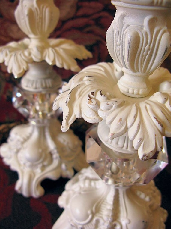 Shabby Ornate Candle Prism French Regency Baroque Rococo Holders Sticks Set 2 Ivory