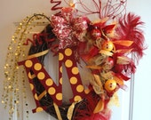 Iowa State CyclonesTeam Colors Wreath with or without wooden initial