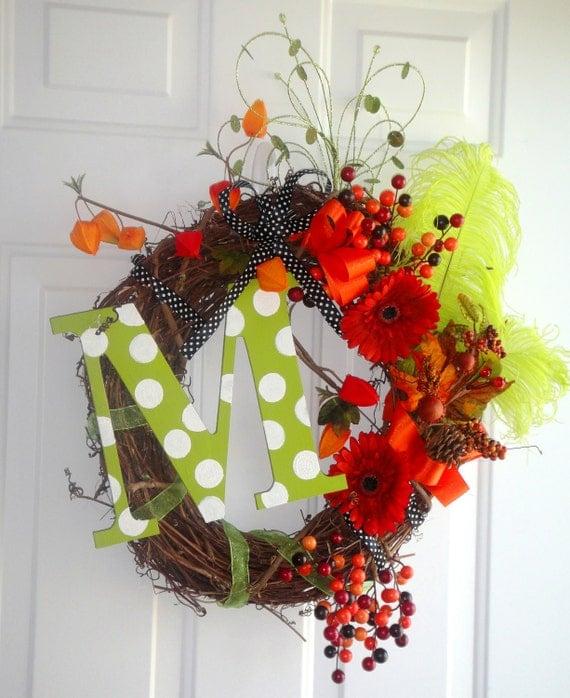 "The ""Dana Carol"" - Fall Whimsy Wreath with Initial"
