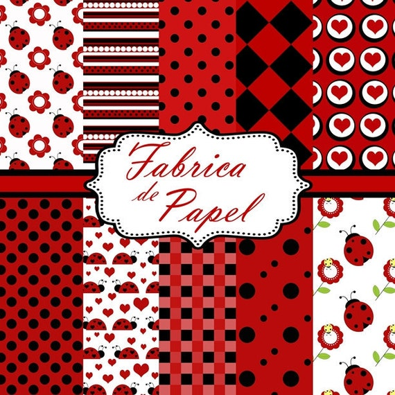 LADYBUG digital paper black red and white with polkadots personal and comercia use ok