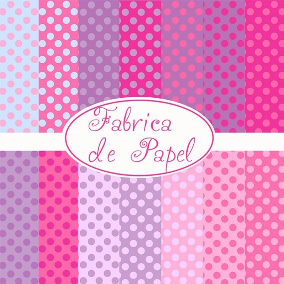 PINK purple and blue dots digital paper personal and comercia use ok 12 x 12
