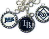 Tampa Bay Rays Baseball Inspired Bottlecap Pendants with Silver Plated Ball and Chain Necklace Set of 3 Handmade