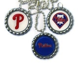 Philadelphia Phillies Baseball Inspired Bottlecap Pendants with Silver Plated Ball and Chain Necklace Set of 3 Handmade