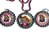 Chipettes Inspired Bottlecap Pendant Jewelry Set with Shiny Light Pink Ball and Chain Necklace Handmade Set of 3 Bottlecap Pendants