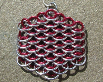 Red Pendant, Chain Maille Pendant, Dragonscale Pendant, Jump Ring Jewelry
